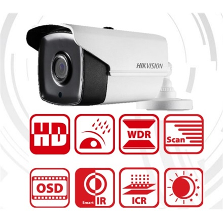 Hikvision DS-2CE16F7T-IT3 Bullet HD-TVI kamera, kültéri, 3MP, 3,6mm, EXIR40m, D&N(ICR), IP66, DNR, BLC, WDR