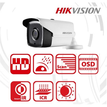 Hikvision DS-2CE16H5T-IT3 Bullet HD-TVI kamera, kültéri, 5MP, 6mm, EXIR40M, ICR, IP67, DNR, DWDR, BLC