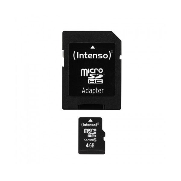 INTENSO microSDHC Class10 4GB kártya adapterrel