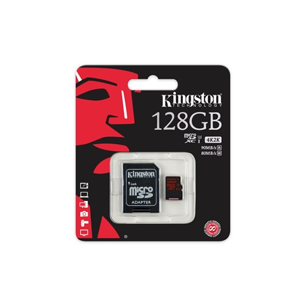 KINGSTON Memóriakártya MicroSDXC 128GB CLASS U3 UHS-I (90/80) + Adapter