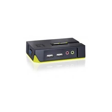 LevelOne KVM Switch - KVM-0221 (2 port, USB, audio, kábelszettel, fekete)