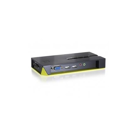 LevelOne KVM Switch - KVM-0421 (4 port, VGA, USB, audio, kábelszettel, fekete)