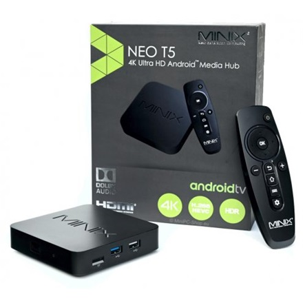 MINIX Médialejátszó - NEO T5  (Quad-Core Media Hub, Android TV OS, USB 3.0, 2GB RAM, 16GB eMMC)