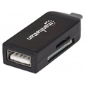 Manhattan 406222 imPORT Link (Mobile OTG Adapter, Micro USB 2.0-ről USB 2.0, 24-in-1 Card Reader/Writer)