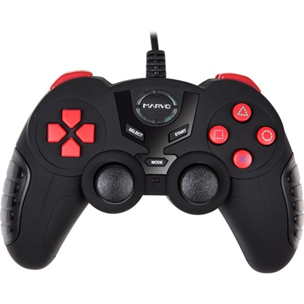Marvo Gamepad - GT-004 (USB, 1,5m kábel, Vibration, PC kompatibilis, fekete)