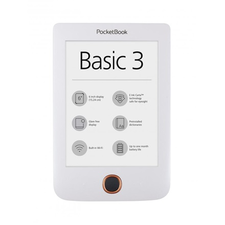 "POCKETBOOK PB614 BASIC3 Fehér (6"" E-Ink Pearl, Cpu: 1GHz, 256MB, 8GB, 1300mAh, wifi, mUSB, mSD olvasó)"