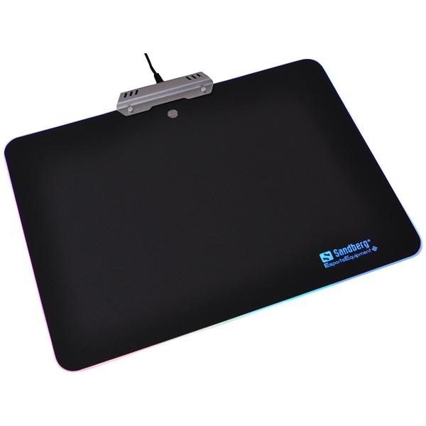 Sandberg Egérpad - Touch RGB Mousepad Aluminium (34x24,5x0,25cm; 7 LED világítás; alumínium; fekete)