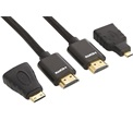 Sandberg Kábel - Excellence HDMI+Adapter (2m; 19Pin+Micro+Mini HDMI; fekete)