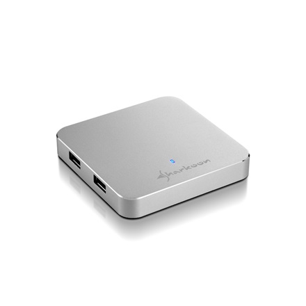 Sharkoon USB Hub - Aluminium Slim Hub (Ezüst; 4port; USB3.0; Power Adapter)
