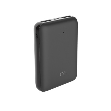 Silicon Power Akkubank - 10000mAh C100 MINI PowerBank Fekete (USB1: DC 5V/2.1A, USB2:DC 5V/2.1A)