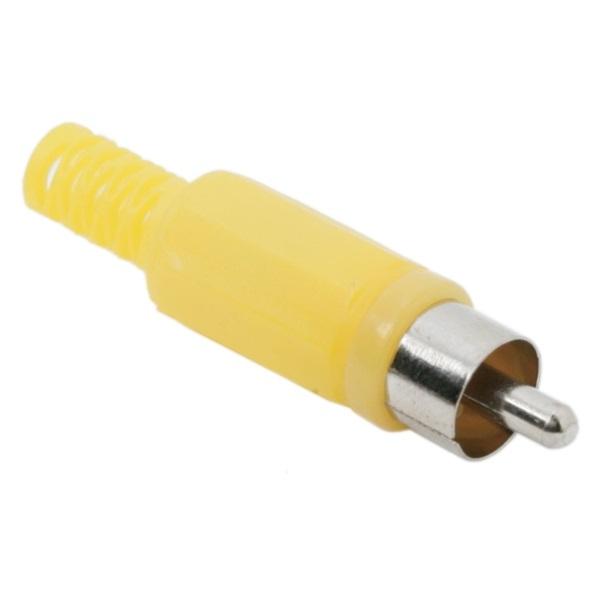 Szerelhető RCA dugó (05077SA), műanyag törésgátlóval, sárga, 10db/csomag