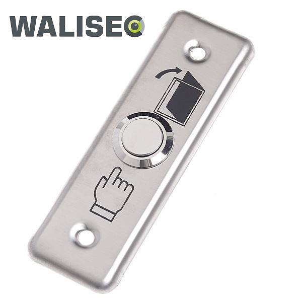WaliSec ajtónyitó gomb, 91x28x20mm, rozsdamentes acél panel, fém gomb