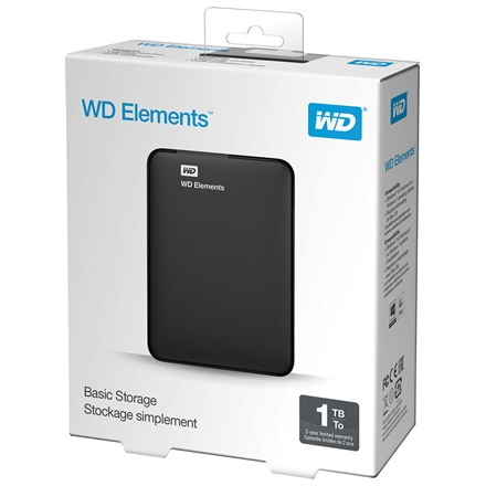 "Western Digital Külső HDD 2.5"" 1TB - WDBUZG0010BBK-WESN (Elements Portable, USB3.0, Fekete)"
