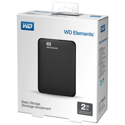 "Western Digital Külső HDD 2.5"" 2TB - WDBU6Y0020BBK-WESN (Elements Portable, USB3.0, Fekete)"